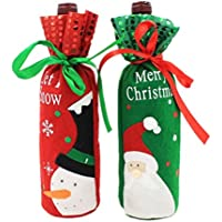 Bullidea 2 Pcs Santa Claus Snowman Red Wine Bottle Jar Cover Bags Christmas Dinner Table Decor(Red+Green)