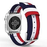 Apple Watch バンド - ATiC Apple Watch 42mm 2015 /Apple Watch 2 42mm(series 2 2016)用 編みナイロン製腕時計ストラップ/バンド/交換ベルト+バンドアダプター/交換ラグ Blue+White+Red (38mmに対応ない)