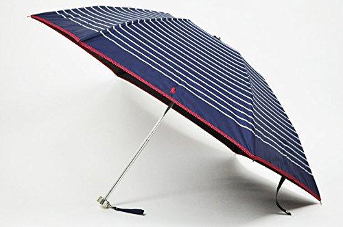 (ラルフローレン)Ralph Lauren レディース ボーダー デザイン 晴雨兼用 折りたたみ 遮光 日傘 / ネイビー