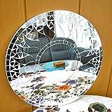 アジアン雑貨 壁掛け バリモザイク・ミラー・鏡 S [D.30cm] 丸型・白+鏡 太陽 【丸い鏡】