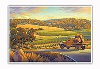 ヴィンヤードにかかる黄金の日没の風景 - ワインカントリーアート によって作成された カーン・エリクソン - アートポスター - 33cm x 48cm