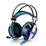 ゲーミングヘッドセットイヤホン マイク付属 PS4 ゲーム用 PC ヘッドフォン ヘッドセット等(ブルー)GS700