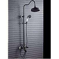 ウォールマウントシャワー蛇口、調整可能ライザーレール降雨シャワーシステム、ハンドシャワー、ブラックアンティークブラス