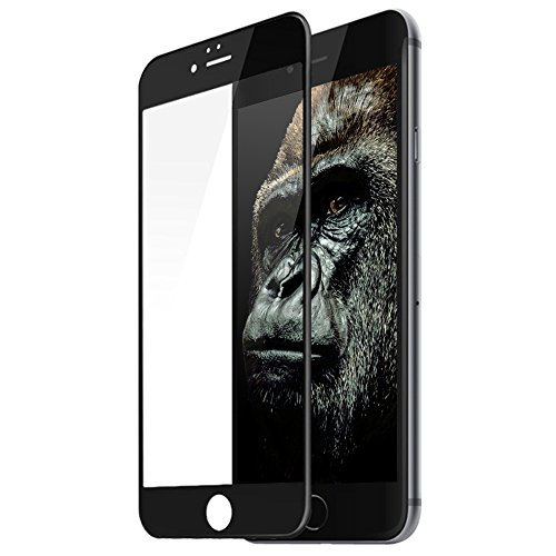 TCJOY iPhone6 Plus 強化ガラス 液晶保護フィルム ゴリラガラス素材 3D曲面加工 全面保護 ブラック