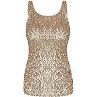 kayamiya Women's 1920S Style Glitter Sequined Vest Tank Tops