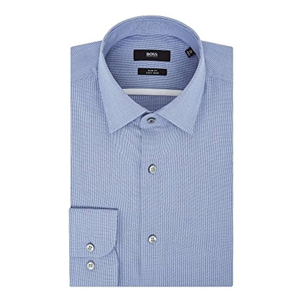 一緒にタウポ湖アッティカス(ヒューゴ ボス) Hugo Boss メンズ トップス シャツ Slim Fit Texture Shirt With Contrast [並行輸入品]