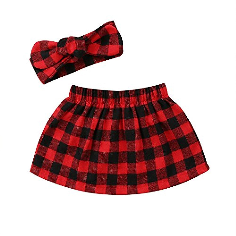 新生児 赤ちゃん 女の子 かわいい チェック柄 チュチュスカート ちょう結びのヘッドバンド 衣装 2PCS服セット (100cm(18~24ヶ月), レッド)
