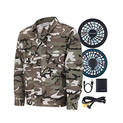 DEWBU メンズ 空調服作業服熱中症対策作業着クーラー冷却服長袖半袖工場内屋外農業エアークラフト(迷彩) M カモフラージュ