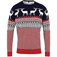 Momo&Ayat Fashions Mens Ladies Four Reindeer Retro Aztec Christmas Jumper US Size 8-26