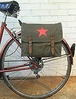 Vintage olive drab W / StarロゴMilitary Surplusスタイルメッセンジャーバッグ自転車パニエ緑