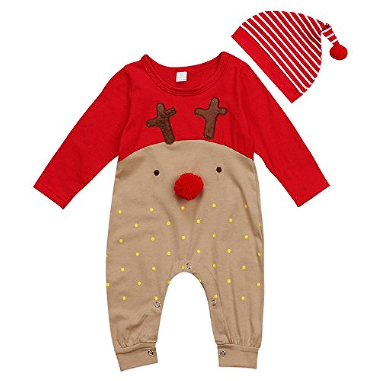 Deylaying 赤ちゃん クリスマスの服 新生児 男の子 女の子 サンタ 鹿 長袖 ロンパース ジャンプスーツ + ハット2Pcs Sets キッズ 秋冬 クリスマス 記念日 出産祝い 衣装