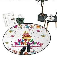 """Joyful Mouses バースデーノンスリップラウンドラグ パーティープレゼント キャンドル付きおいしいケーキ お祝いカートゥーン 屋内/屋外用 丸いエリアラグ (直径24インチ) マルチカラー D28""""/0.7m"""