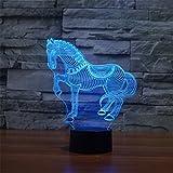 3D テーブルランプ ナイトライト Taoyoyo 間接照明 Usb LED ランプスリープルームのための7色の装飾良いギフト (馬)