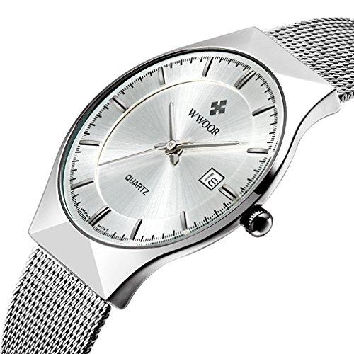 [해외]WWOOR 시계 라운드 슬림 평면 비즈니스 쿼츠 시계 방수 남성 은빛/WWOOR Watch Round Slim Thin Business Business Quartz Watch Waterproof Men Silver