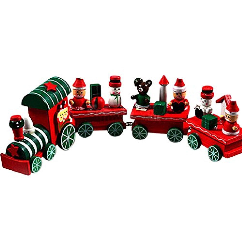 クリスマス木製トレイン、malltop 4 Pieces Lively Xmas Mini Train Toyオーナメントデコレーションギフト