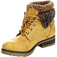 Refresh Wynne-01 Combat Style Lace up Faux Leather Booties for WomenTan10
