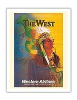 西 - アメリカンインディアンチーフ - ウェスタン航空 - ビンテージな航空会社のポスター によって作成された E・カール・レイク c.1950s - アートポスター - 51cm x 66cm
