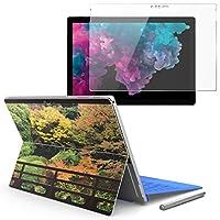 Surface pro6 pro5 pro4 専用スキンシール ガラスフィルム セット 液晶保護 フィルム ステッカー アクセサリー 保護 写真・風景 写真 和風 建物 秋 紅葉 008066