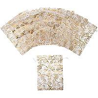 Aspire 1000PCS Organza Drawstring Pouches, White Pouch with Golden Eyelash Pattern