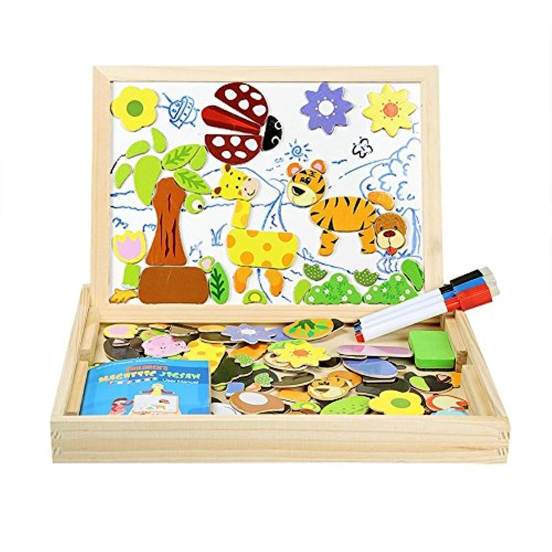 HuaQingPiJu-JP 子供のための創造的な動物の磁気ジグソーパズルラブリーおもちゃ