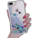 iPhone 7 ケース キラキラ 創意 流れる ios icon APP Apple 図面 多彩な 液体 流動の砂 iPhone 8 携帯バンパー カバー (iPhone 7/8, Glitter Silver)