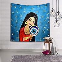 現代の装飾漫画インドの女性スタイル壁掛けタペストリーポリエステル生地壁家の装飾用リビングルーム寝室のソファの背景としてビーチタオルショールヨガマット,006,150×229cm