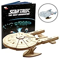 """IncrediBuilds Star Trek The Next Generation: U.S.S. Enterprise Book and 3D Wood Model Kit - Build, Paint and Collect Your Own Wooden Model - Great for Kids and Adults, 10+ - 5"""" [並行輸入品]"""