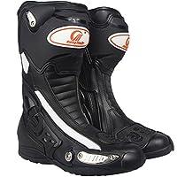 ライディングシューズ バイクブーツ レーシングブーツ バイク ブーツ ブラック ロング バイク ブーツ  バイク用靴 (41(25.5cm), ブラック)