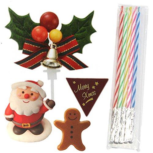 クリスマスケーキオーナメントセット(シュガーサンタクロース・チョコジンジャーマン&プレート・ひいらぎ・キャンドル)