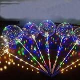 5ピースクリアバブルバルーン付きハンドシャンクledストリップ銅線発光バレンタインの日の結婚式の装飾誕生日用品 - 18インチ