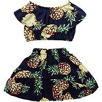 Baby Girls Skirt Pineapple Print Top High Waist Two-Piece Set