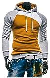 【Smile LaLa】 スウェット パーカー メンズ 長袖 プルオーバー カジュアル パーカー トリコロール 3色 (L, ブラウン&グレー)