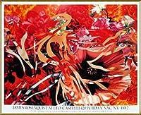 ポスター ジェームズ ローゼンクイスト Pearls Before Swine Flowers before Flames 1990年 限定1000枚 額装品 アルミ製ハイグレードフレーム(ゴールド)