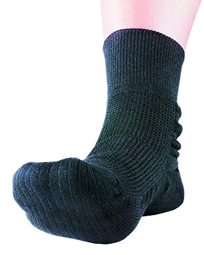 収まる不一致回転するつま先上がり足裏健康靴下 Sブラック