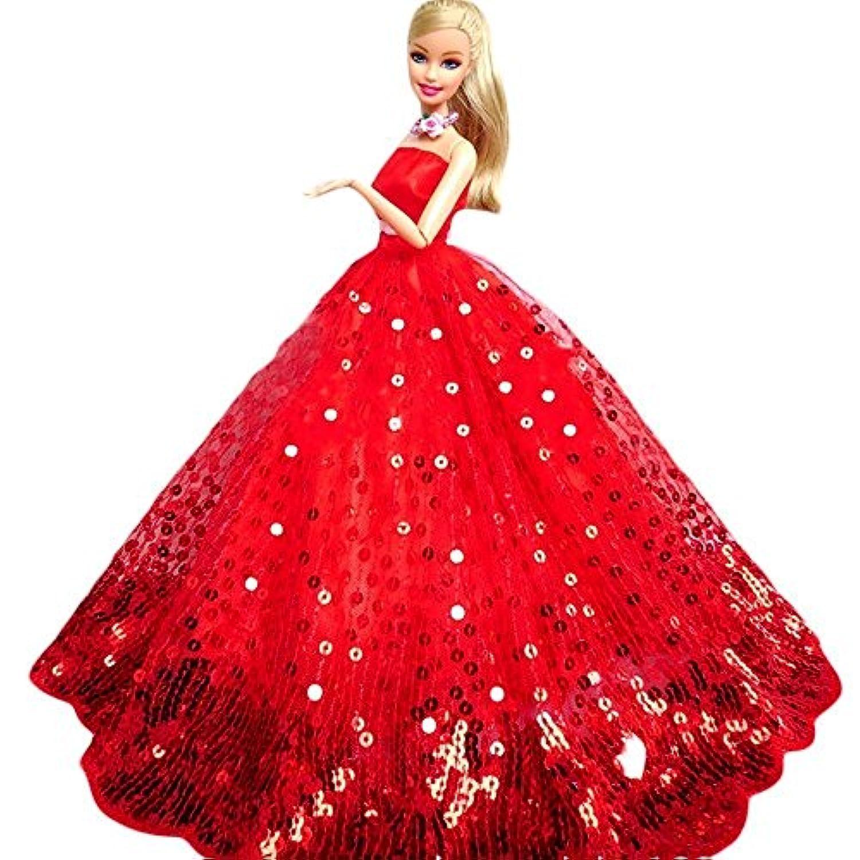 Youvinson バービー 人形の服 花嫁のウェディングドレス ロングスカート バービー 服 ドレス 人形着物 プリンセスドレス 飾り物 装飾 レッド