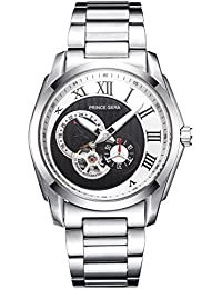 腕時計 メンズ PRINCE GERA 防水運動自動機械式腕時計 シルバーケース ブラックダイヤル [並行輸入品]