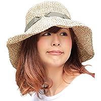 (オリエントハット)Orient Hat 大人 エレガント 紫外線対策 リボン付き 小顔効果 コマ編み ペーパーニット キャペリンハット レディース 日よけ AOR008S