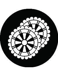 家紋シール 重ね花形源氏車紋 布タイプ 直径40mm 6枚セット NS4-1860