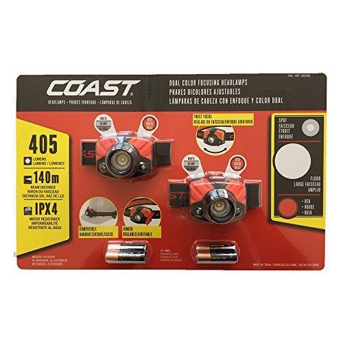コーストプロダクツ(Coast Products) 20718 LEDヘッドライト 405ルーメン 防水性能IPX4 夜釣り アウトドア 電池付属 2セット 07180