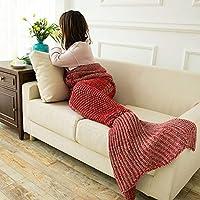 WCH 誕生日プレゼント人魚の尾人魚の尾空調ソファーウールニット昼寝 (Color : The Red, サイズ : 140*60CM)