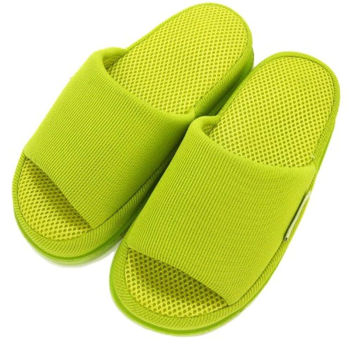 足で癒す リフレクソロジースリッパ リフレ かかと ライトグリーン M