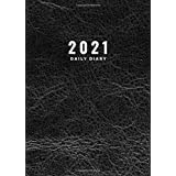 2021 Daily Diary: Pretty Black Leather Theme Print Cover A4 Page A Day To View Dated Diary 2021 Planner Organiser Lined Journ