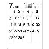 カレンダー 2019 壁掛け モノトーン文字 SG452   カレンダー 2019年 大きめ 文字月表 分かりやすい 実用的 見やすい メモたっぷり 機能的 シンプル 書込みやすい 使いやすい 人気 六曜 書き込み 大判 大きい おしゃれ スケジュール カベ 壁 モノトーン 月 A2