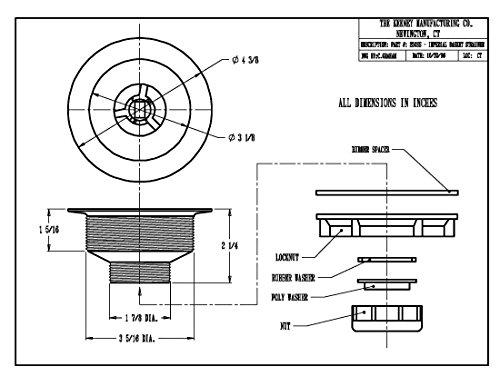 Keeney 250ss Sink Strainer with固定支柱バスケット、プラスチックボディwithステンレススチールリム、ステンレススチール