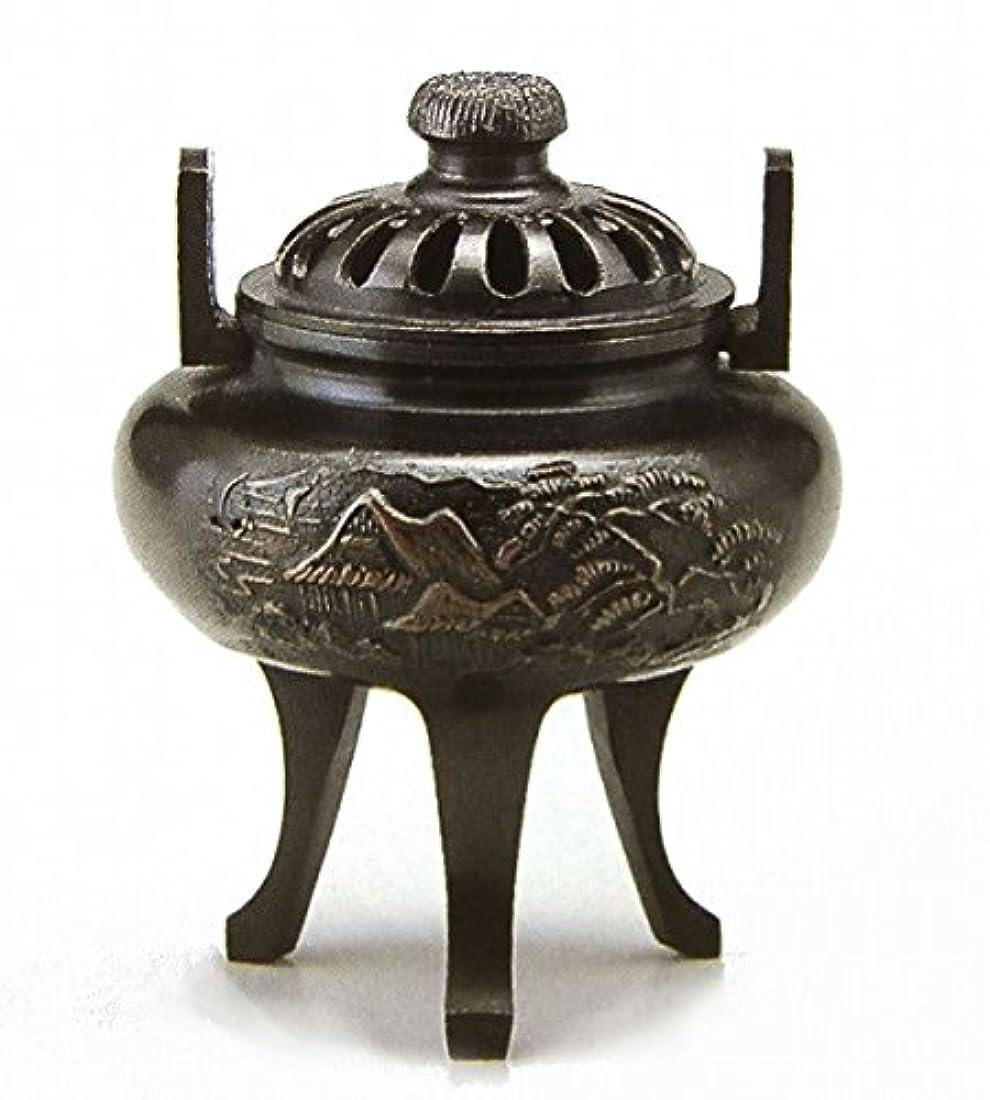 反応する慎重一時的『菊蓋山水香炉』銅製