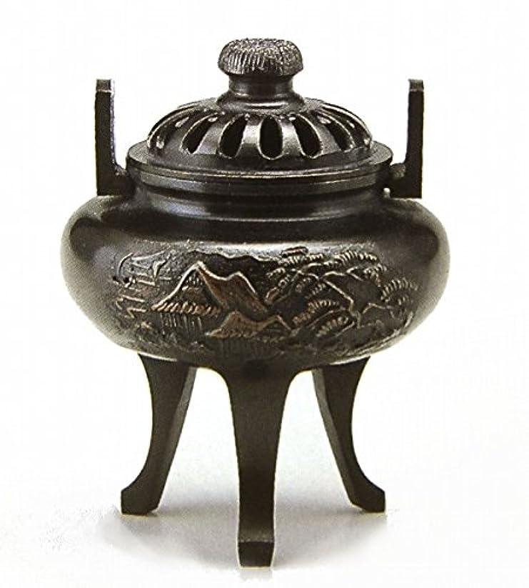 細心のアイザックサミット『菊蓋山水香炉』銅製