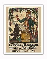 ブルゴーニュワイン、フランス - ワインメーカーHenri deBah?zre - ビンテージな広告ポスター によって作成された ガイ・アルヌー c.1916 - アートポスター - 28cm x 36cm