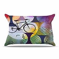 "KessインハウスalyZen Moonshadow "" Bike to the Moon」ピンクグリーンキング枕ケース、36by 20インチ、36"" x 20"" """