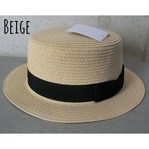 【ノーブランド品】 no brand (ベージュ) 4756424 カンカン帽 simple ペーパー ストローハット シンプル  メンズ レディース