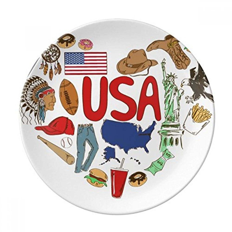 ラブハートアメリカUSA National Flag装飾磁器デザートプレート8インチディナーホームギフト